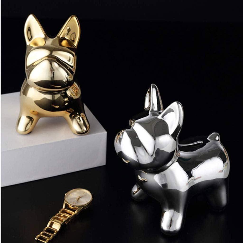 Piggy Bank, Toy Piggy Bank Coin Silver Childrens Gift Box for Boys Leuke Hond of decoratieve (Kleur: zilver) LLAN (Color : Silver) Gold