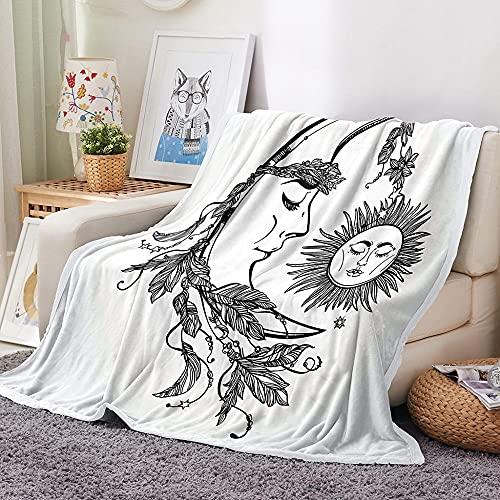 Manta de Microfibra de Felpa 100 × 130 cm,Manta con Estampado de Jane dibuja el Sol y la Luna,para niños,Adultos,100% Microfibra Lanzar para Cama, sofá y Viaje!