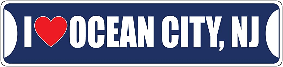 I Love Ocean City,Nj Red Blue Street Sign DECAL Sticker 8x2