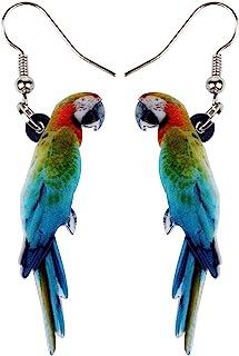 NEWEI Acrylic Colorful Parrot Bird Earrings Dangle Drop Big Long Sweet Animal Jewelry for Women Girls Gift