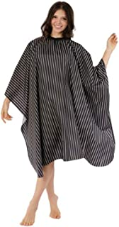 WM BEAUTY Adjustable Multi-purpose Hairdressing Salon Cape Full Size Stripe Hair Cutting Gown Water Repellent,Black