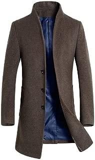 Men's Long Sleeve Single Breasted Mid-Length Wool Blend Tops Coat