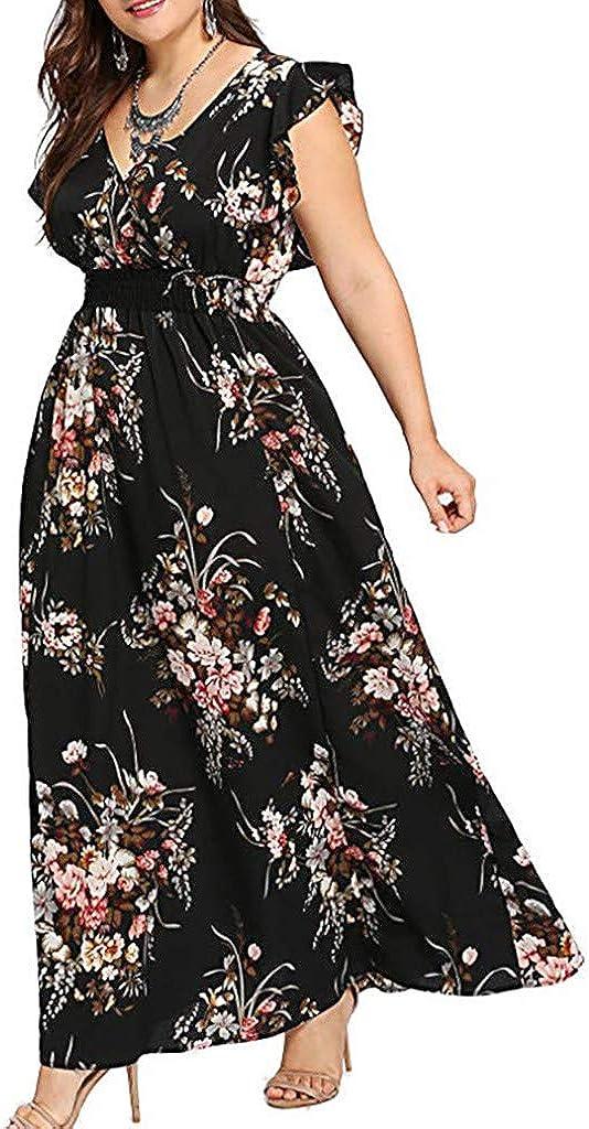 Womens Dresses Clearance! Women's Plus Size Casual Short Sleeve Cold Shoulder Boho Flower Print Long Mini Dress