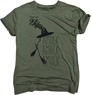 Amuck Amuck Amuck Womens Halloween T Shirts Ladies It's Just A Bunch of Hocus Pocus Witch Hat Fall Graphic Tee Tops