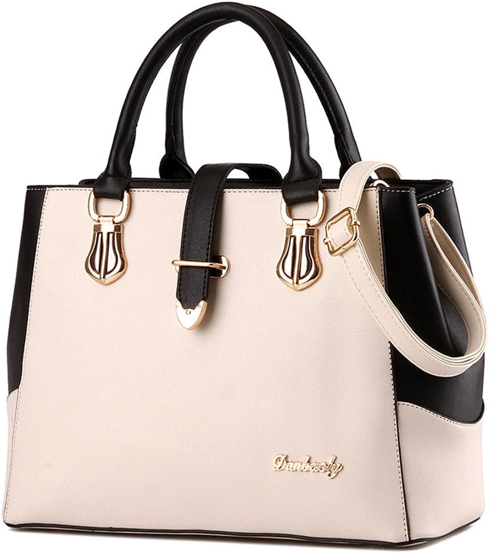 Luckywe Leather Women Handbags Totes Top Handle Shoulder Bag Satchels Splicing Multi color Designer