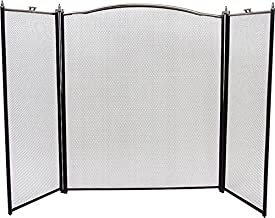"""Rocky Mountain Goods Fireplace Screen 3 Panel Decorative Design - 30"""" by 52"""" - adjustable width - Black / Silver - Beautiful design for modern & classic homes - Safety doors - Sturdy wrought iron"""