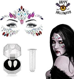Luxital Halloween Cosplay Vampire Teeth Women Mermaid Face Gems Glitter,Rhinestone Face Jewels,Crystals Face Stickers Tattoos…