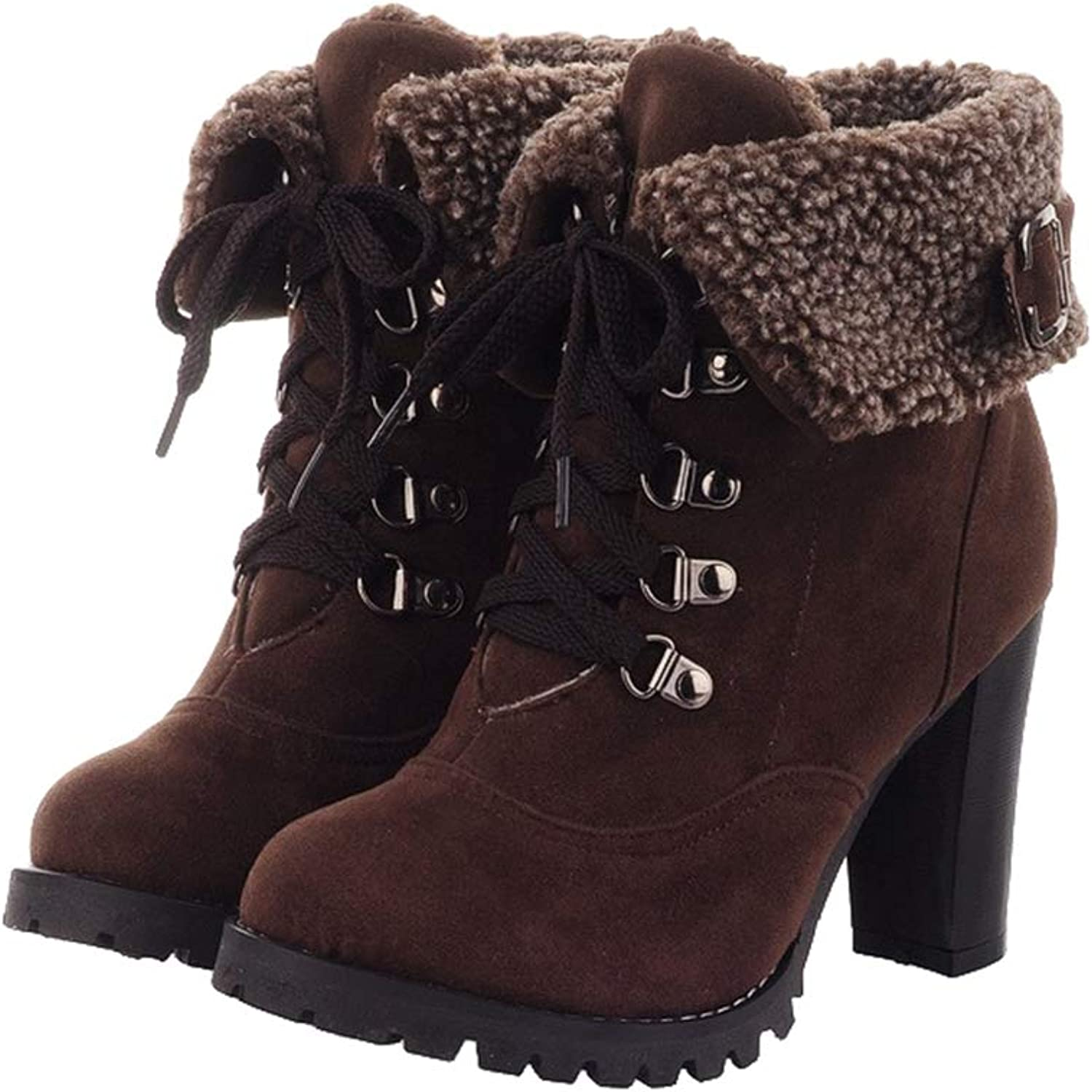 Kyle Walsh Pa Women Ankle Booties Female Martin Boots Square High Heel Lace-up Warm Fur Winter shoes
