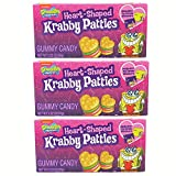 SpongeBob SquarePants Heart-Shaped Krabby Patties, Valentine's Day Gummy Candy Gift with To/From Stickers, Pack of 3