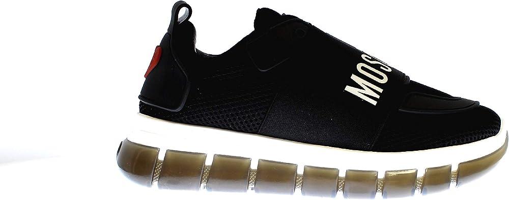Moschino sneakers donna in tessuto retinato e pelle JA15145G0AJS0000