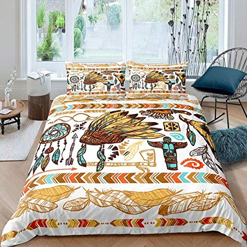 HKDGHTHJ Children's Quilt 3D Creative Picture Tribe bohemian feather hat 260x230 CM Bedding Set Comforter Cover Bed Sheet Pillowcases Set Comfortable Bed Linens for Kids Men Women
