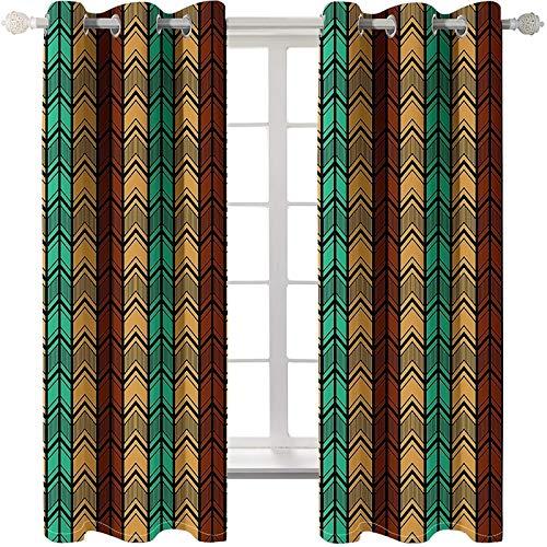 Daesar Verdunklungs Vorhang Kinderzimmer Modern Pfeil Geometrie, Vorhänge Fenster Blickdicht Wohnzimmer 214x214CM Schlafzimmer Vorhänge Gardinen mit Ösen 2er Set Grün Braun Khaki