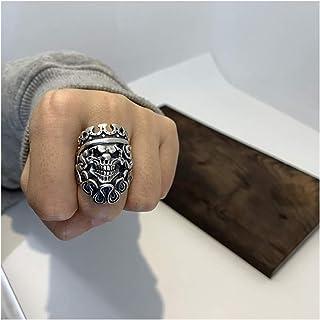 خاتم فضة الجمجمة خاتم قوطي خواتم قابلة للتعديل للرجال والنساء مادة فضية نقية ، لن تتلاشى ، لن تسبب الحساسية