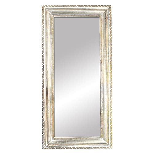 99a3088cb0c2 Indian Heritage Mirror 29x60 Carved Wooden Frame in White Distress Finish