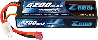 Zeee 7.4V 60C 6200mAh 2S RC Lipo Battery Hardcase with Deans Connector for RC Vehicles Car Truck Truggy Boat(1 Pack)