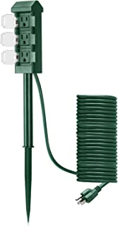 BESTTEN Outdoor Power Strip with 20-Foot Ultra Long Extension Cord, 3-Outlet Weatherproof Yard Stake with Protective Cover, ETL Certified, Green