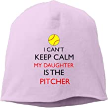 DMN Fashion Solid Color Softball I Can't Keep Calm My Daughter Is The Pitcher Head Cap For Unisex White One Size