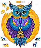 Hodslen Woods - Animal Wooden Jigsaw Puzzles for Kids (10+ Years) Adult, Teens, Family; Majestic Animal Shaped Natural Wood Puzzle, Beginner Level, 10.2x11.8 in. (26x30 cm), 150 pcs, L - Size – Owl