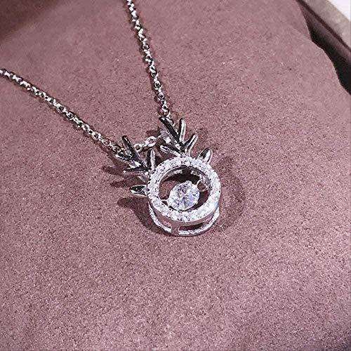 WYDSFWL Collar Exquisito Collar Plata Micro Intarsia Hirsch HeartbeatModern Fashion Exquisito Collar Temperamento Femenino