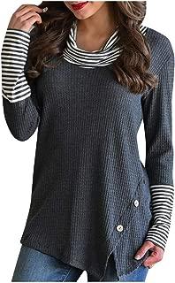 Alangbudu Women Turtleneck Knit Skew Button Split Hem Crochet Swing Pullover Long Sleeve Sweatshirt Tops Blouse Sweater