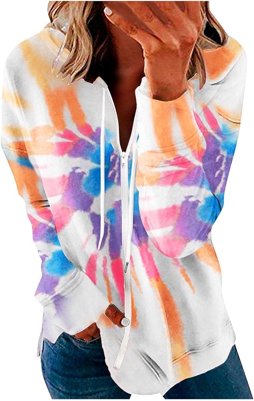 Aniwood Hoodies for Women Colorful Printed Zip Up Hoodie Sweatshirt Casual Long Sleeve Drawstring Solid Jackets Coat