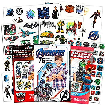 Superhero Tattoos for Boys Kids Party Bundle -- 175 Licensed Temporary Tattoos with Stickers Featuring Transformers Justice League and Marvel Avengers  Party Supplies