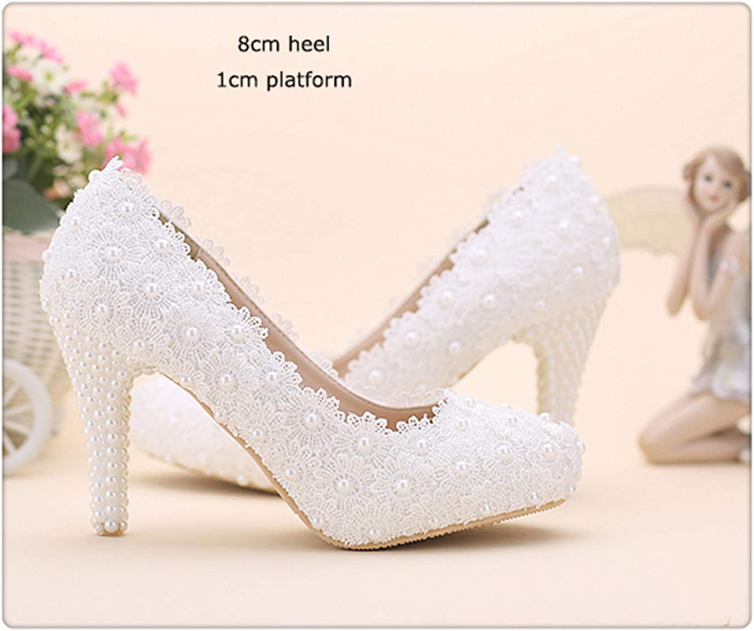 HCHBE& Women Fashion Sweet White red Flower Lace Platform High Heels Pearls Rhinestone Wedding shoes Bride Dress shoes White 8cm Heel 9.5