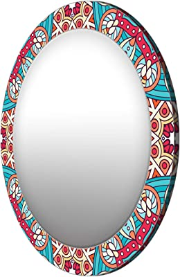 999Store Printed red and Blue Abstract Pattern Round Mirror (MDF_17X17 Inch_Multi)