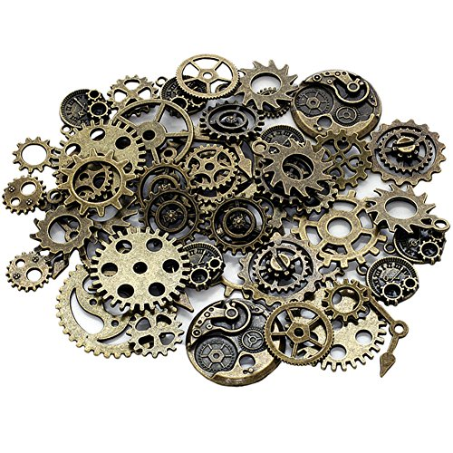 Chytaii Engranajes Retro Rueda Esqueleto Aleación Accesorio de Manualidades para Hacer Joyas Artesanía Steampunk Accesorios de Reloj Retro Gear Accesorios Decorativos 50g