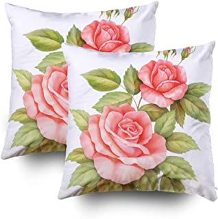 GROOTEY Square Set of 2 Pillow Case with Zippered for Home Sofa Decor 18X18Inch Costom Throw