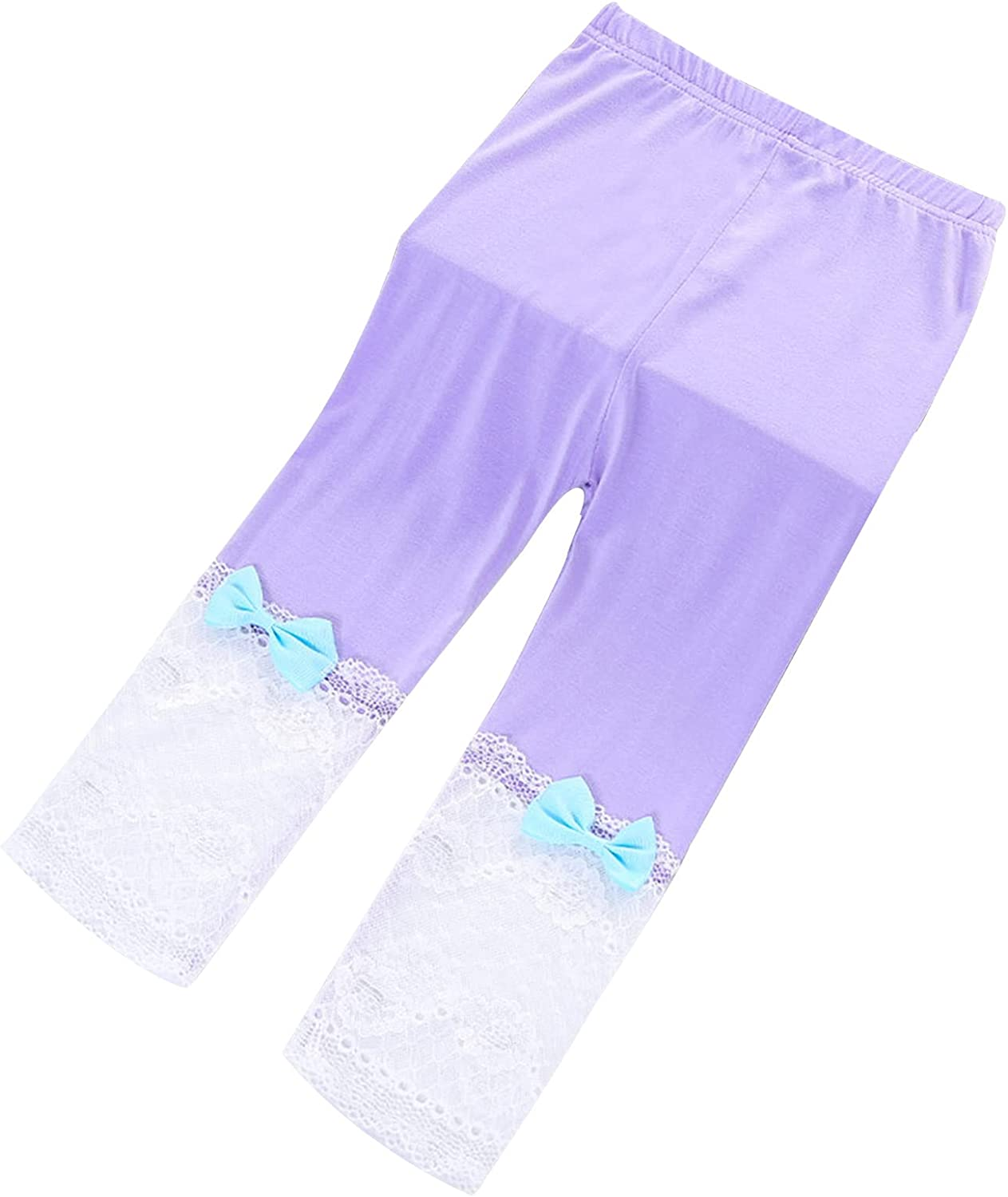 Aislor Girls Cotton Capri Leggings Kids Summer Footless Tights Cropped Leggings School Dance Yoga Pants with Lace Bow