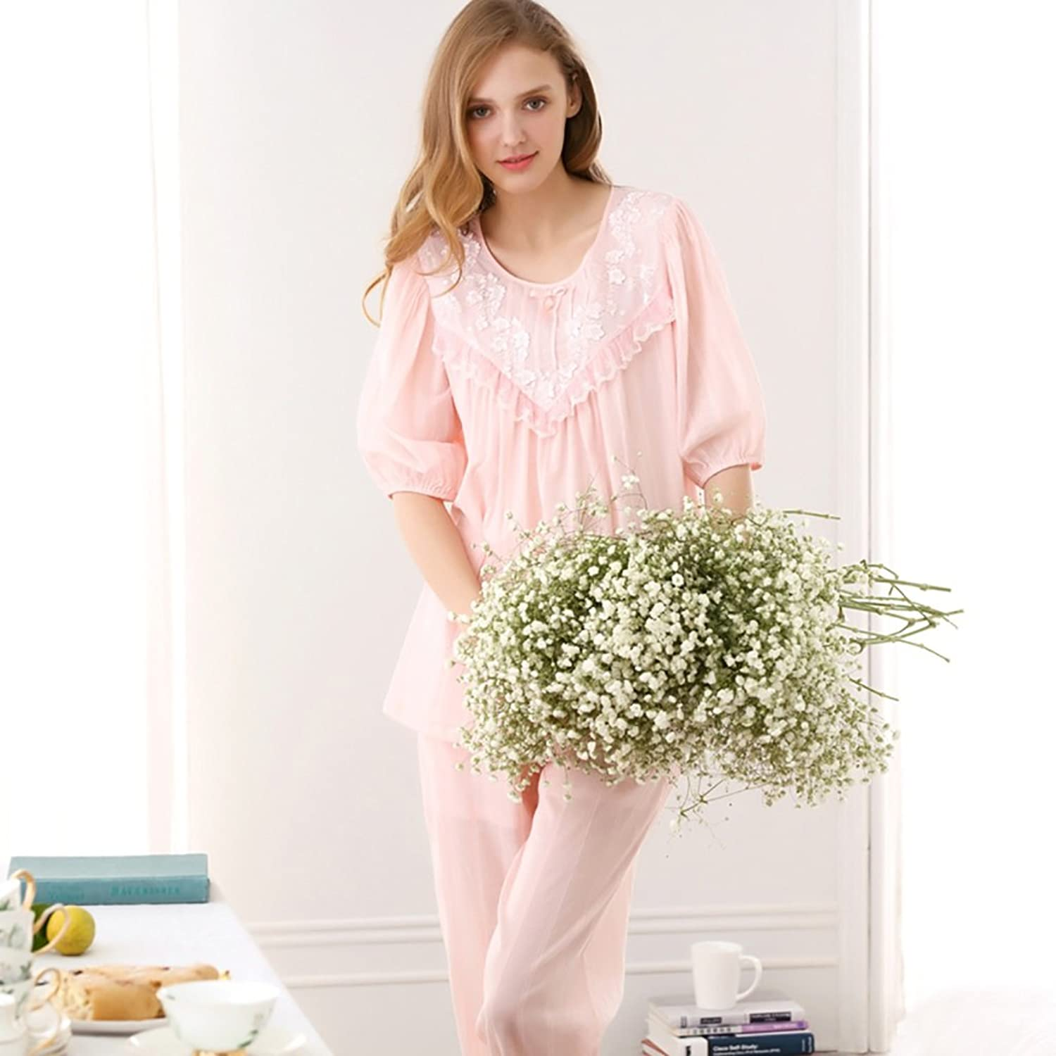 Pure Cotton Retro Princess lace pajamas sweet girl home clothing two pieces sets ( color   Pink , Size   M )