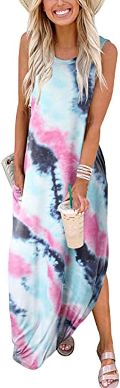 MEDRESPIRIA Summer Dress Midi Women's Casual Loose Pocket Long Dress Sleeveless Split Maxi Dresses Pink