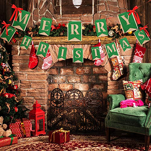 Tatuo Merry Christmas Banner Burlap Bunting Banner Christmas Hanging Banner Garland with Ribbons for Fireplace Wall Christmas Tree Decorations