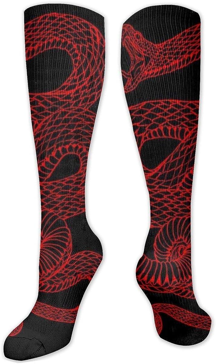 Red Snake Knee High Socks Leg Warmer Dresses Long Boot Stockings For Womens Cosplay Daily Wear