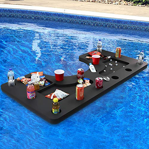 Polar Whale Giant Floating Bar Table Tray and Drink Holder for Pool, Hot Tub or Beach Party Float Lounge Refreshment Durable Black Foam 18 Compartment UV Resistant with Cup Holders 5 Feet Long