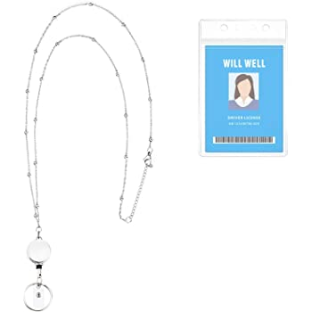 Retractable Badge Reel Lanyard with ID Holder for Women, Will Well Fashion Beaded Lanyard Stainless Steel Necklace with Water Resistant Name Badge Holder