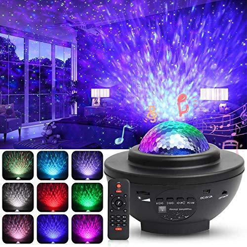 LED Projektor Sternenhimmel Lampe, Swonuk 360°Drehen Ozeanwellen Projektor mit Fernbedienung/Bluetooth Lautsprecher/3 Helligkeitsstufen für Kinderzimmer, Partys, Geschenke (Ozeanwellen)