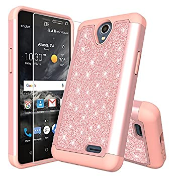 for 5  ZTE Maven 3 & 2 Prestige 2 & 1 Case Phone Case Glitter Shock Proof Edge Scratch Shield Hybrid Layers Bumper Slim Cover & Screen Film  Rose Gold