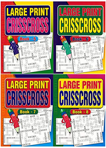 W.F. Graham Set of 4 Large Print A4 Crisscross Books 66 Puzzles Each for Kids & Adults