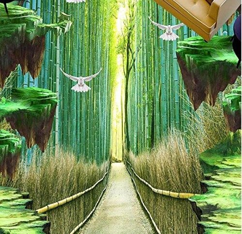 BZDHWWH 3D Bodenfliesen Fototapeten Wasserdichte Tapete Custom 3D Bodenbelag Bambus Wald Selbstklebende Boden Tapete,110Cm X 160Cm