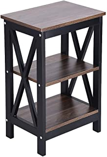 Lataw Bedroom Bedside Table Multifunction Nightstand Storage Cabinet Sofa End Table with 2 Shelves