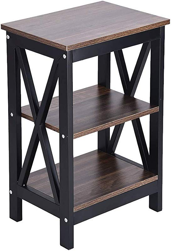 Luonita Nightstand Tall End Table Storage Wood Cabinet Bedroom Side Storage Sofa End Table With 2 Shelve Organizer Unit For Bedroom Hallway Entryway Shipping From CA NJ Black
