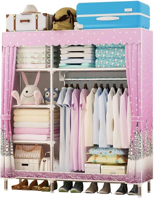 Jiu Si- Cloth Wardrobe Simple Wardrobe Assembly Dormitory Storage Double Single Storage Wardrobe Cloth Wardrobe (color   A)