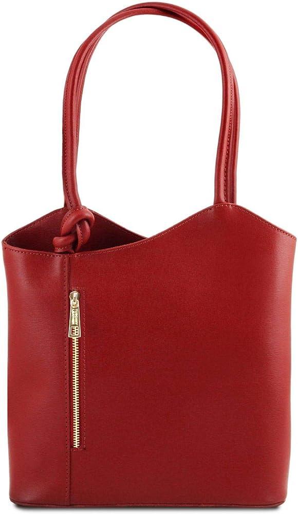 Tuscany leather patty, borsa da donna convertibile a zaino, in pelle saffiano, rossa 1455_1_4
