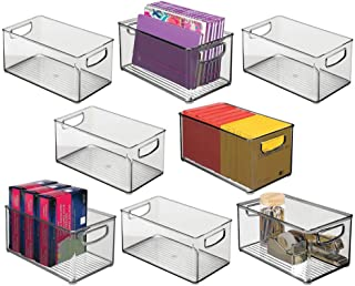 $59 » mDesign Plastic Office Storage Bin Container, Desk and Drawer Organizer Tote with Handles - for Organizing Gel Pens, Erasers, Tape, Pens, Pencils, Highlighters - 8 Pack - Smoke Gray