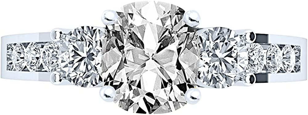 Year-end annual account 2.75 Ctw 14K White Gold Channel Set Certified 3 Three Popular popular GIA Stone