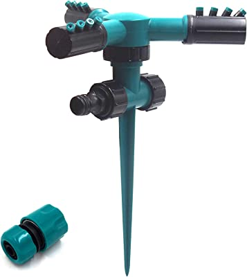 Garden Sprinkler 360 Degree Rotating- Lawn Sprinkler, Ground Covered Yard Sprinkler Automatic Spray with for Garden, Kids, Yard, Large Area Coverage, Adjustable, Weighted Gardening Watering System