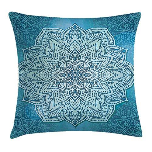 Funda de cojín con diseño de mandala, diseño de flor de loto oriental, diseño de plantas de loto, decoración espiritual zen, decoración decorativa cuadrada, 45,7 x 45,7 cm, color azul azulado