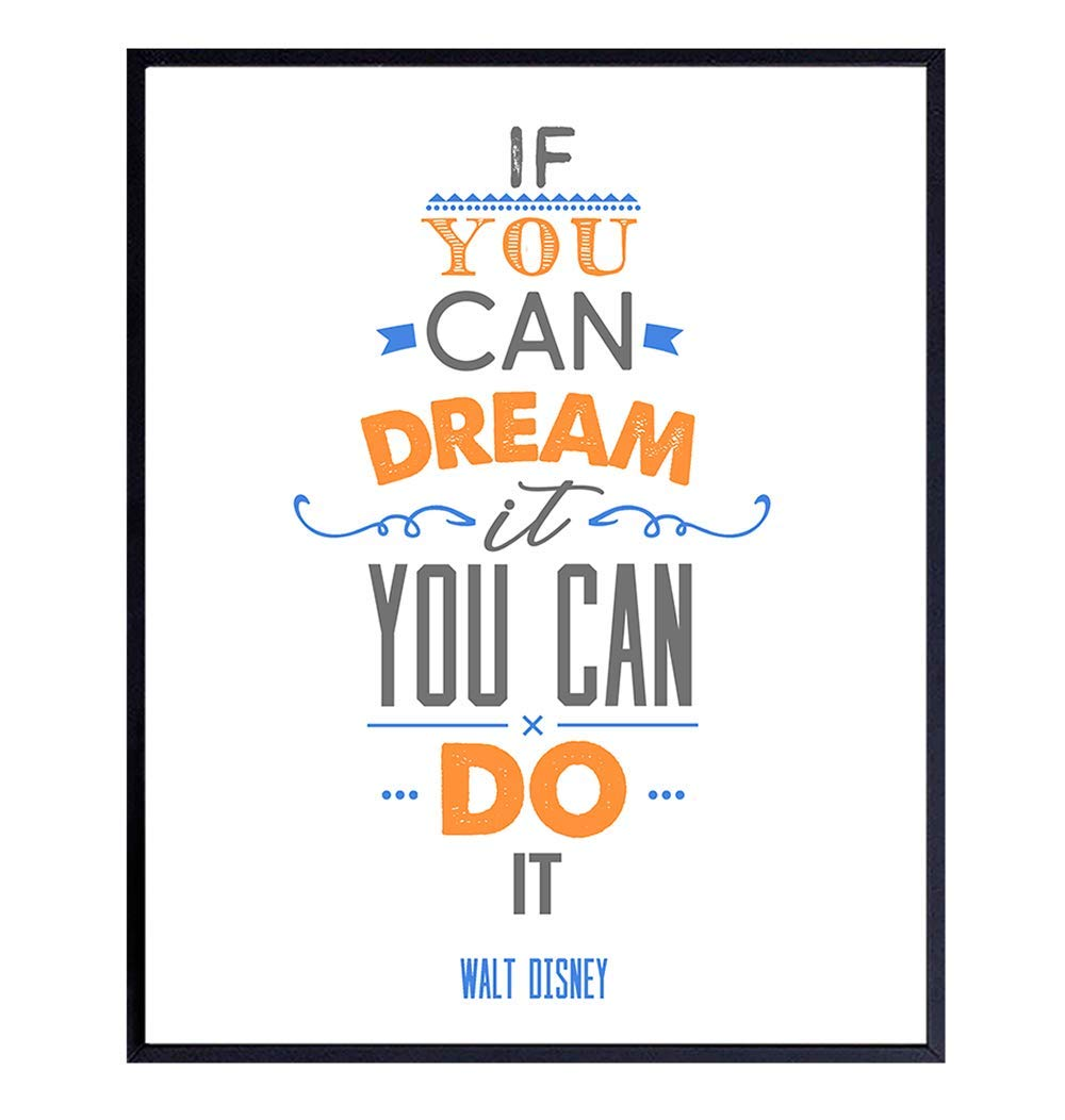 Walt Disney If You Can Dream It You Can Do It Inspirational Quote Wall Art    Motivational Room Decor or Gift for Disney World, Disneyland, Mickey ...